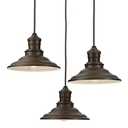 How far apart should pendant lights be over an island in the kitchen:Aged Bronze Rustic Multi-Light Cone Pendant