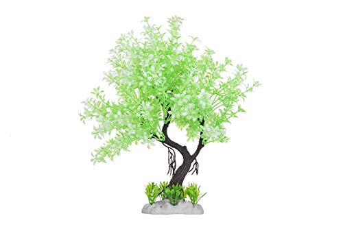 HITOP Pets Plastic Plants for Fish Tank Decorations Large Artificial Aquarium Decor (Round Tree)