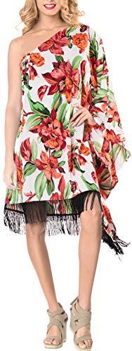 LA LEELA Robes de Plage Grande Taille Tunique Pull Femme Glands Kimono Bikini Cover Up Blouse Maillot De Bain Caftan Sarong Pareo Été Chemisier Haut Top Beachwear Swimsuit Sanglant Rouge_A421