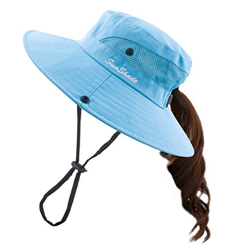 Muryobao Women Ponytail Summer Sun Hat Wide Brim UV Hats Floppy Bucket Cap for Safari Beach Fishing Gardening Pure Sky Blue
