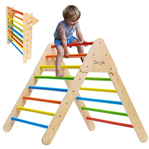 Climbing Triangle - Wooden Climbing Toys for Toddlers & Baby - X-Large Foldable Colorful Climber Indoor Gym for Kids - 100% Safe - CPSIA Certified - Driddle