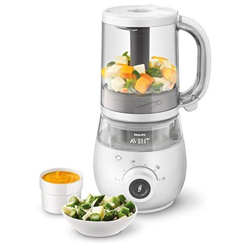 Philips Avent 4-in-1-Babynahrungszubereiter SCF883/01, Dampfgaren und Mixen, 4 Mahlzeiten, weiß - 4