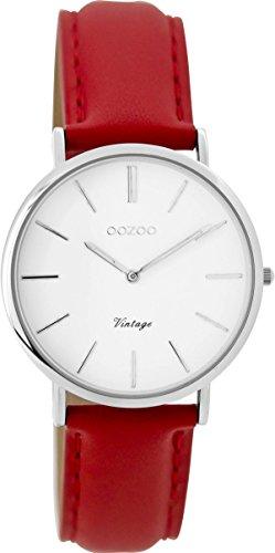 Oozoo Vintage Damenuhr Lederband 32 MM Weiss/Rot C9309