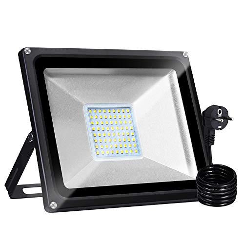Bellanny 50W Focos LED Exteriores con Enchufe, Proyector LED Blanco Cálido IP65 Impermeable 5000LM 3000K para Iluminación de Seguridad, Jardín, Garaje, Patio