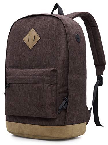936Plus Wasserabweisender Rucksack Laptop Büchertasche für Schule, Hochschule, Uni, mit 12 Taschen, Braun
