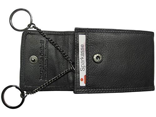 Leder Schlüsseltui SCHLÜSSEL Schwarz mit Kreditkarten-RFID-Schutz Kartengröße Doppelnaht 2 Schlüsselringe an Kettchen 1 Kartenfach 1 Reißverschlussfach Druckknopfverschluss 96610