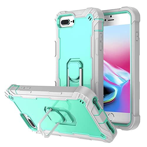 Ffish Funda para iPhone 8 Plus/iPhone 7 Plus/iPhone 6 Plus, Hybrid Armor Cover Protección resistente con Kickstand, gris+Aqua