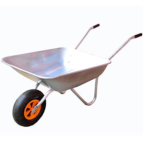 FUXTEC Schubkarre FX-WB5260 mit bis zu maximal 80kg Zuladung und max 60L Fassungsvermögen, Transportwagen aus verzinktem Stahl, ideal als Gartenkarre für ihre Geräte, inkl. Luftrad