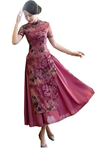 Shanghai Story Vietnamese ao dai Chinese Traditional Dress Long Cheongsam M Red