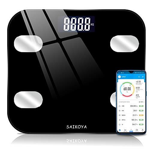 体重計 体脂肪計 体組成計 ヘルスメーター bluetooth スマホ連動 USB充電式 アプリと同期 体重/BMI/体脂肪率/筋肉量/体水分率/内臓脂肪レベル/骨量/基礎代謝量8項目測定可能 デジタル ボディスケール スマートスケール (ブラック)