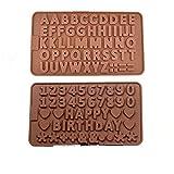 Lhbfcy Joyeux Anniversaire Alphabet Chocolat Moule Silicone Marron Chocolat Moule Lettres Chiffres Silicone Moulle pour Tablettes De Chocolats, Barre énergétiques Et Protéinées, Glaçons, Bonbons-2Pcs