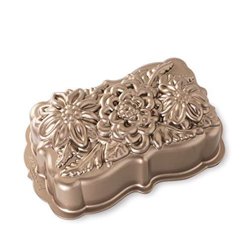 Nordic Ware Wildflower Loaf Pan, 6-Cup, Toffee
