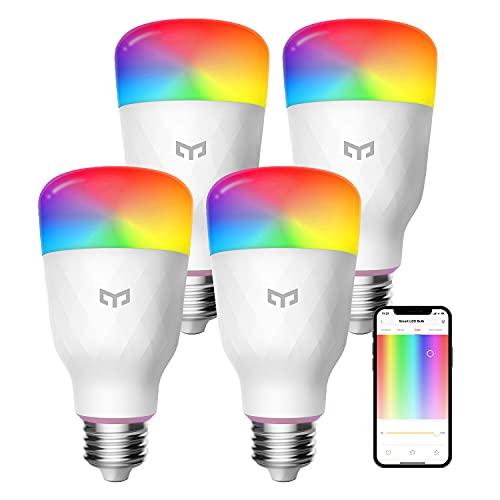 Smart LED Light Bulbs 60W Equivalent, YEELIGHT Smart LED Bulbs A19 Dimmable Smart Bulbs Work with Alexa & Google Home Razer Chroma, RGBW Color Changing Light Bulbs, 8W 900LM, 4 Pack