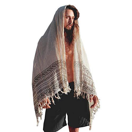 BREEZE Beige Handgeweven Katoenen Sjaal Sarong Dreads Haarband Natuurlijk Geverfd Wrap Blok Gedrukt Ademend Festival Gypsy Tribal Savage AJJAYA