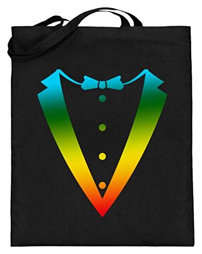 Bolsa de yute (con asas largas), color Negro, talla 38cm-42c