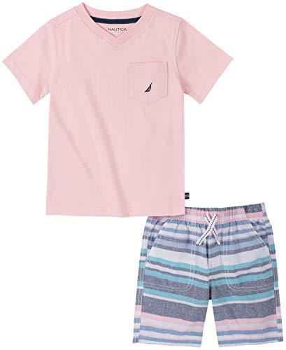 Nautica Sets (KHQ) - Juego de Pantalones Cortos para bebé, Rosa/a Rayas, 12 Meses