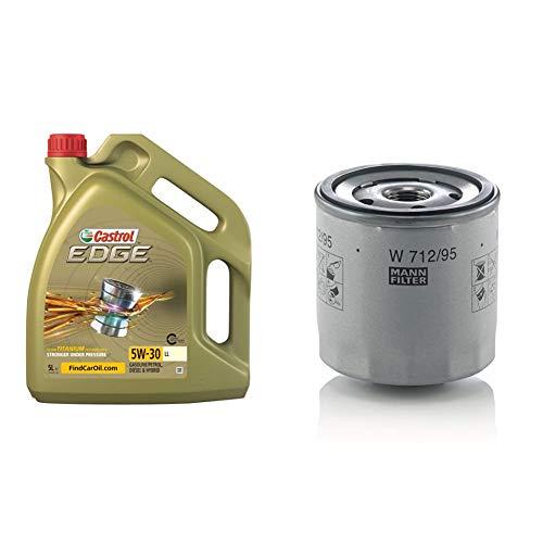 Castrol 15669E EDGE LL 5W-30 LL Motorenöl 5L & Original MANN-FILTER Ölfilter W 712/95 – Für PKW