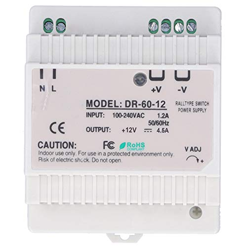 Fuente de alimentación de riel DIN EVTSCAN, fuente de alimentación de riel DIN LED regulada ajustable para gabinete de control de caja de fusibles(DR-60-12)