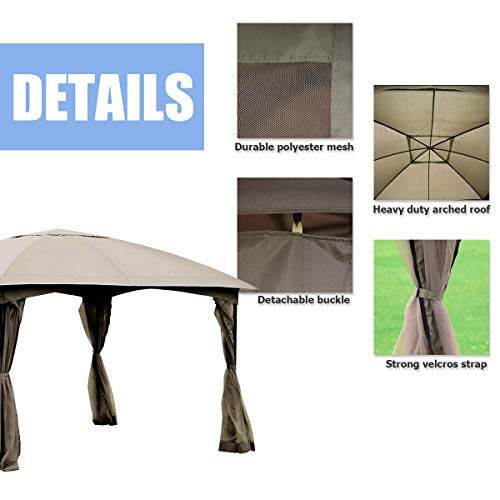 Tangkula 11.5 x 11.5 Feet Large Outdoor Gazebo, Fully Enclosed Canopy Gazebo with Netting, Patio Gazebo Shelter w/ 133 Square Feet of Shade for Patio Lawn Garden Beach Picnic