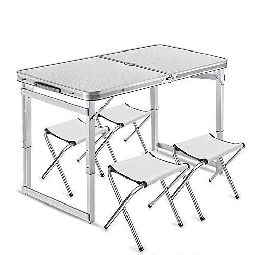 JCCOZ -T Mesa plegable portátil de jardín mesa ajustable mesa de camping mesa con 4 sillas portátiles mesa de aluminio para camping, senderismo viajes T