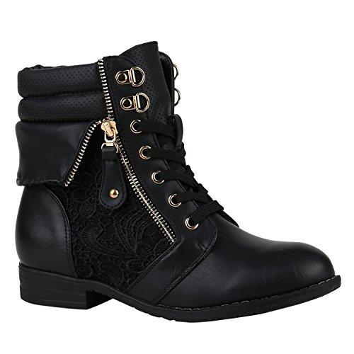 stiefelparadies Damen Stiefeletten Schnürstiefeletten Leder-Optik Schuhe Spitzenstoff Boots Zipper Schnürboots 144309 Schwarz Zipper 38 Flandell