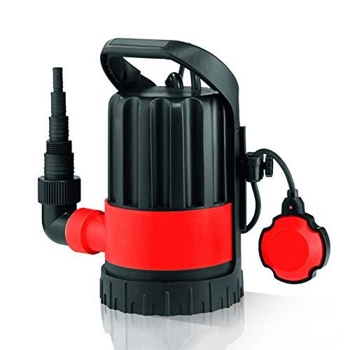 Grafner Klarwasser-Tauchpumpe 600 Watt bis 9500 l/h Förderleistung, flachabsaugend bis 3 mm, Ø8mm Fremdkörper, Schwimmschalter, Tragegriff, Universalanschlüsse, Flachsaugerpumpe Entwässerungspumpe