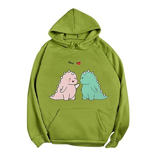 NHNKB Sudadera con capucha para mujer, diseño de dinosaurios, sudadera con capucha para mujer, juvenil, de invierno, verde, XL