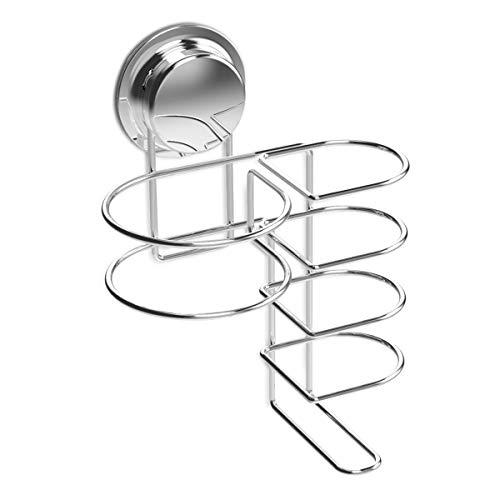 Navaris Soporte para Colgar secador y Plancha de Pelo - Colgador de Pared de Acero Inoxidable con Ventosa - para Espejo Cristal azulejo - Sin Agujeros