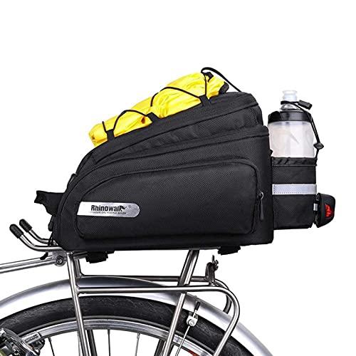 Xuanshengjia - Bolsa de transporte trasero para portabicicletas, bolsa de equipaje de bicicleta impermeable con funda de lluvia para ropa, zapatos, gafas de bicicleta, 12 litros