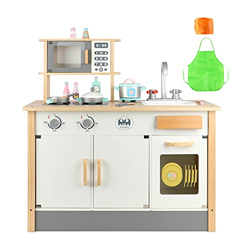 Joqutoys Wooden Chef's Play Kitchen Set for Toddlers, Kitchen Toys Playset for Kids, Pretend Play Cooking Set with Accessories, 31.3 x 31 x 13.8 Inches