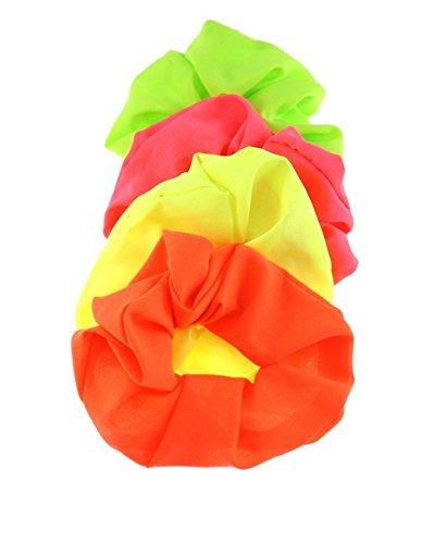 Zac's Alter Ego® Set of 4 Neon Hair Scrunchies - Pink, Orange, Green & Yellow