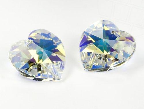 Gogoritas Anhänger von Swarovski Elements Herz 10.3mm x 10.0mm (Crystal-AB, Zweite Wahl), 12 Stück