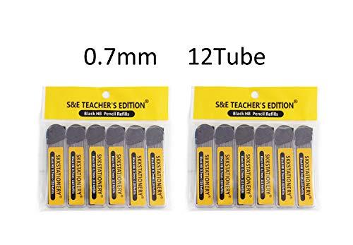 S & E TEACHER'S EDITION 1320 Pcs 0.7mm HB Mechanical Pencil Lead Refills, Hi-Polymer Lead Refills, 12 Tubes, 110 Pcs/tube.
