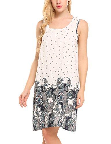 Hotouch dames Bohemian tuniek strandjurk lange mouwen zomerjurk mini-jurk tuniek bohemian strandtuniek met ronde hals