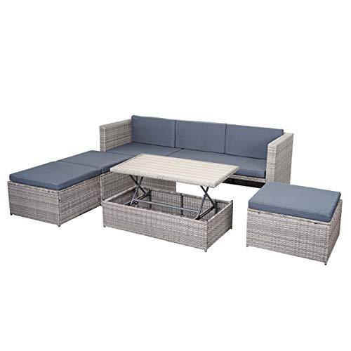 Mendler Poly-Rattan Garnitur HWC-E29, Gartengarnitur Sitzgruppe, Platzwunder ~ grau, Kissen dunkelgrau