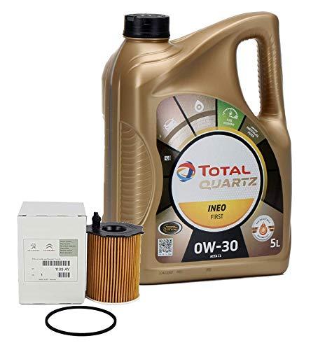 Set - Olio Motore Total Quartz INEO First 0W-30, 5litri + filtro olio PSA originale 1109AY Motori 1,4 / 1,6 HDi, confezione originale
