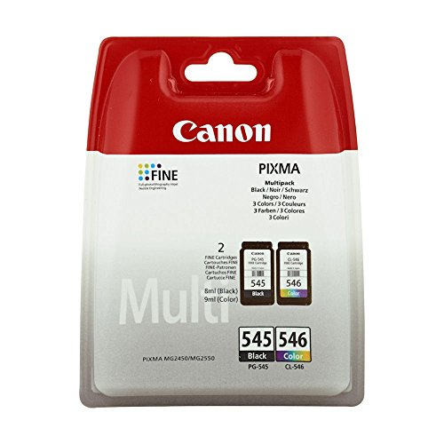Canon 8287B005 - PG-545 / CL-546 Multipack - Lot de 2 - Noir - Couleur (cyan, magenta, jaune) - Original - Cartouche d'encre - pour PIXMA iP2850, MG2450, MG2550, MG2950 (1)