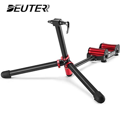 DEUTER Bike Trainer Stand Resistance Adjustable - Portable Magnetic Bicycle Rollers Indoor Exercise/Fitness/Workout - Foldable Fully Aluminum Alloy with Tote Bag for Travel