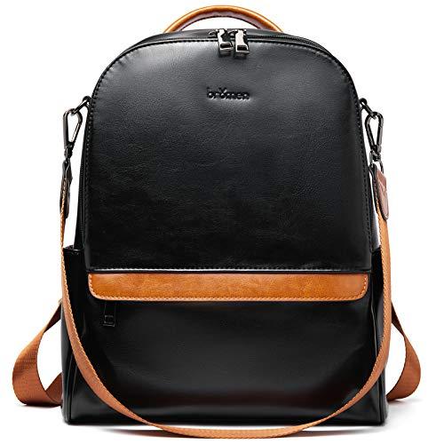 BROMEN Backpack Purse for Women Leather Anti-theft Travel Backpack Fashion College Shoulder Handbag Black with Brown