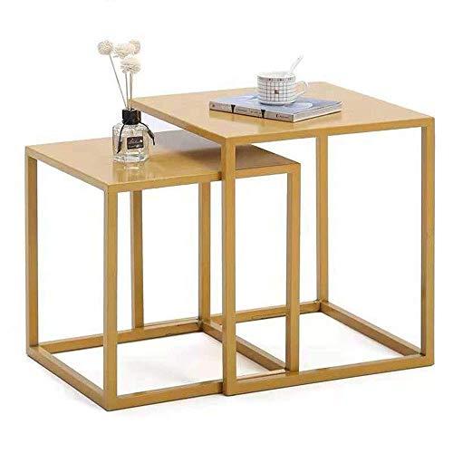 AOLI Mesas Juego de nido de café de 2 Exhibición de arte retro de hierro Estante para zapatos Tienda de ropa Paquete Estante Escaparate,Oro