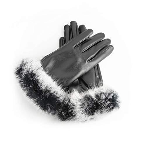 AXELENS Guantes Mujer Chica Invernales Pantalla Táctil Elegantes en Piel Ecológica Interior de Felpa Cálidos Suaves Puños de Piel Sintética Smartphone Celular Teléfono Móvil Tablet - Talla S/M - NEGRO