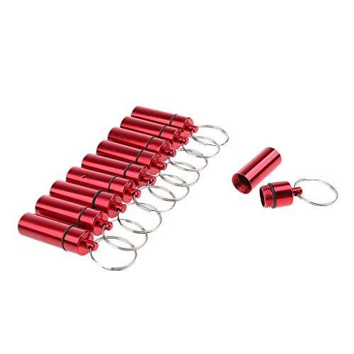 Baoblaze 10er Set aluminium pillenbox sleutelhanger pillendoos hanger tablettenbox opbergdoos pillendoos met sleutelring rood