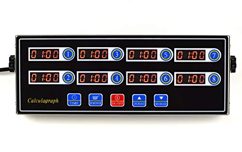 Li Bai Commercial 8 Channels Kitchen Timer Restaurant Cooking Timers 8 Channels Digital Alarm Reminder Multi-Event,Clock Loud Adjustable Clear LED Display, Stainless Steel(Black)