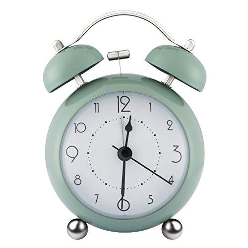 ZOJI Reloj despertador con doble campana para mesita de noche, sin garrapatas, simplemente función reloj para dormitorio, oficina o viaje (verde)