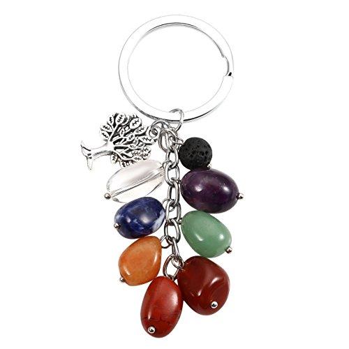 Jovivi Porte-clés avec pendentifs 7pierres Chakra, une breloque arbre de vie et une pierre de lave diffuseur d'huiles essentielles, multicolore (Multicolore) - AJUK501013097(1)