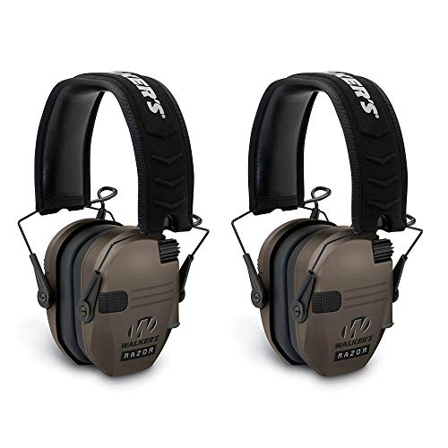Walkers Razor Hearing Protection Dark Earth Slim Shooter Folding Earmuffs, Pair
