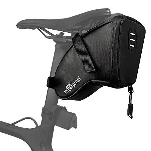 WOTOW Bolsa de sillín de Bicicleta, Paquete de cuña de Bicicleta Impermeable con Cremallera Resistente al Agua y Revestimiento de PU de Bucle de luz Trasera para Suministros de conducción (1.5L)