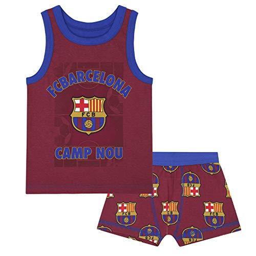 FC Barcelona - Jungen Unterwäsche-Set - Boxershorts & Unterhemd - Offizielles Merchandise - Geschenk für Fußballfans - 6-7Jahre