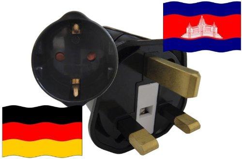 Reise-SK - Adaptador de enchufe de Cambodia a enchufe tipo F o Schuko (protección de contacto, 2200 W)