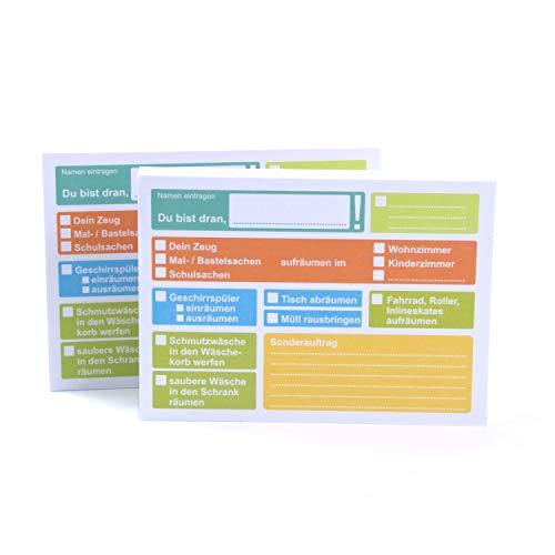 Aufgabenliste Haftnotizen Doppelpack (2 Blöcke, 200 Blatt) - vorgedruckte To Do Liste für Kinder und Familien, selbstklebend